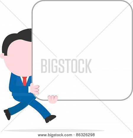 Businessman Running And Holding Big Blank Square Banner