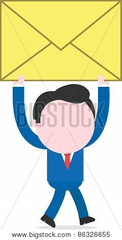 Businessman Walking And Holding Big Mail Icon