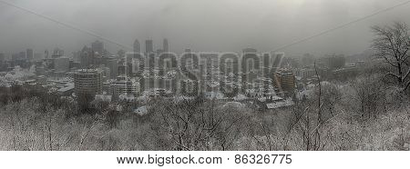 Panorama of downtown Montreal during winter snowstorm from the mont royal mountain.