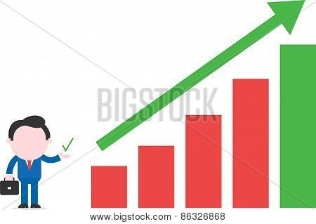Businessman Beside Bar Chart With Arrow Up