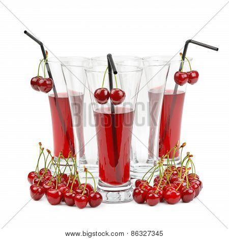 Cherry And Glass Of Juice Isolated On White Background