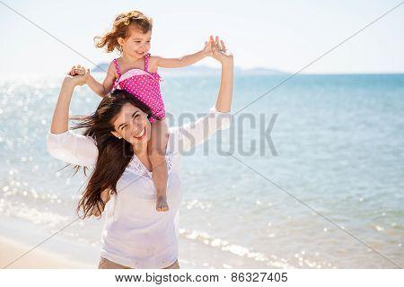 Piggybacking My Mom At The Beach