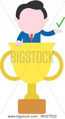 Businessman Inside Gold Trophy