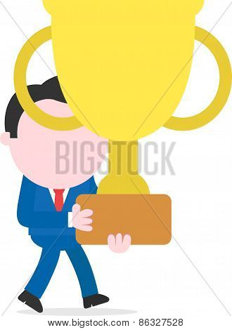 Businessman Walking And Holding Big Gold Trophy