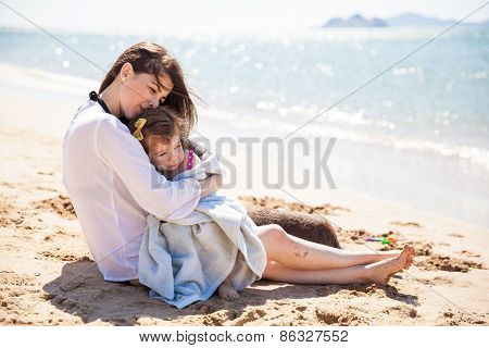 Loving Mother At The Beach