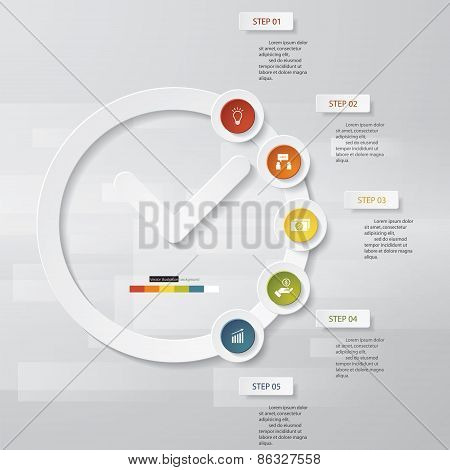 Design Clock&Time template/graphic or website 5 steps layout.
