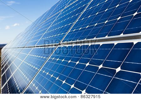 Photovoltaic Solar Panels Row