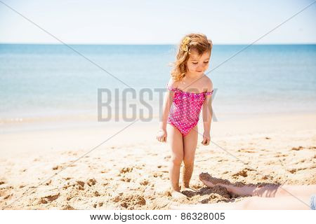 Cute Little Girl At The Beach