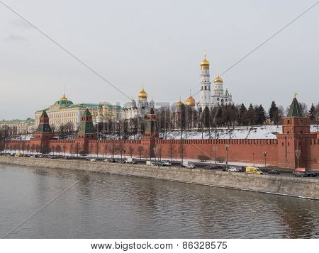 Kremlin Embankment Of The Moscow River