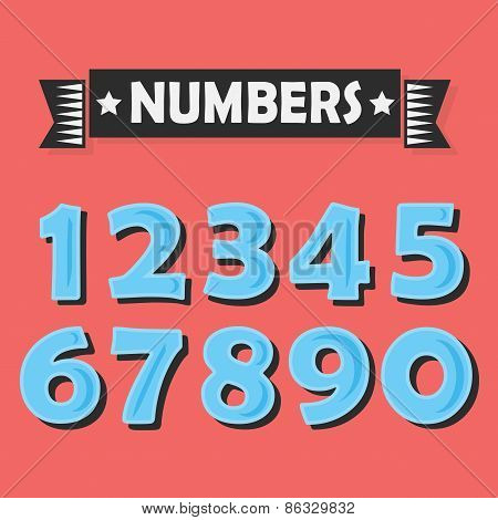 Set of abstract blue cartoon numbers with black shadow