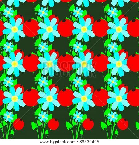 Seamless Pattern Of Flowers And Red Berries
