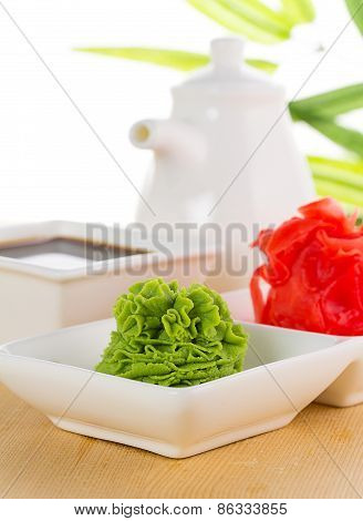 Ginger Ans Wasabi With Soy Sauce On Wooden Background