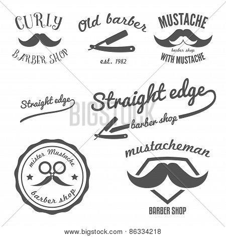 Set of vintage barber shop logo, stickers, labels, badges and design element