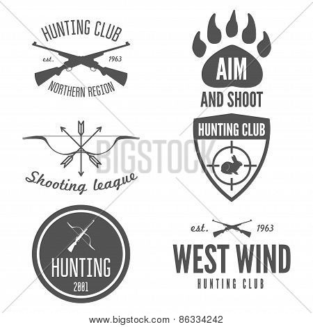Set of logo, sticker, badge, emblem, label, print or logotype elements for shooting club or hunting