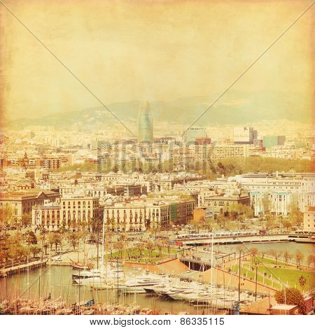 Old style image of Barcelona cityscape.