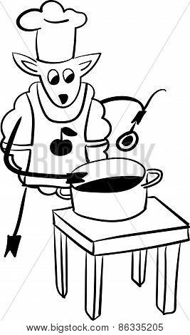 Sheep Chef  funny vector illustration
