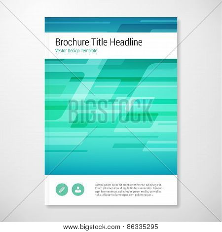 Modern Vector Abstract Shape Blue And Green Brochure Report Design Template