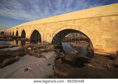 One of Seljuk Architecture sample in Sivas Egri Bridge, Turkey