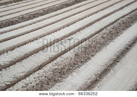 Fresh tractor traces in ground,Oblique line.
