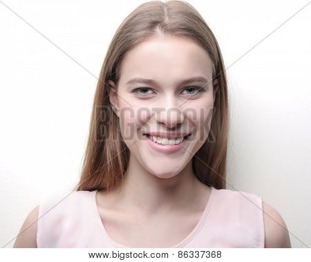 Blonde girl smiling