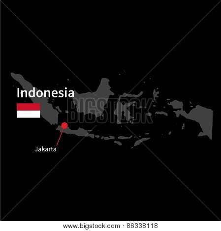 Detailed map of Indonesia and capital city Jakarta with flag on black background