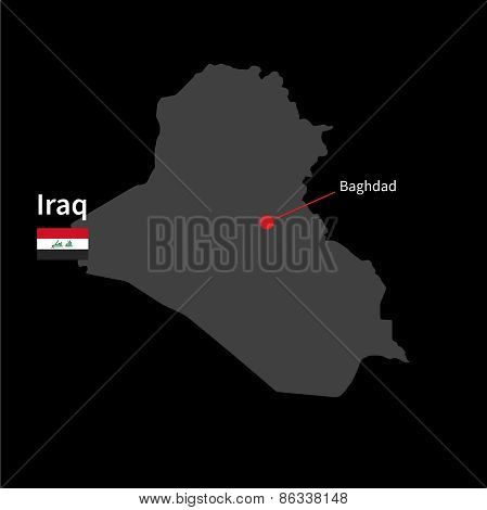 Detailed map of Iraq and capital city Baghdad with flag on black background