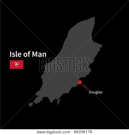 Detailed map of Isle of Man and capital city Douglas with flag on black background