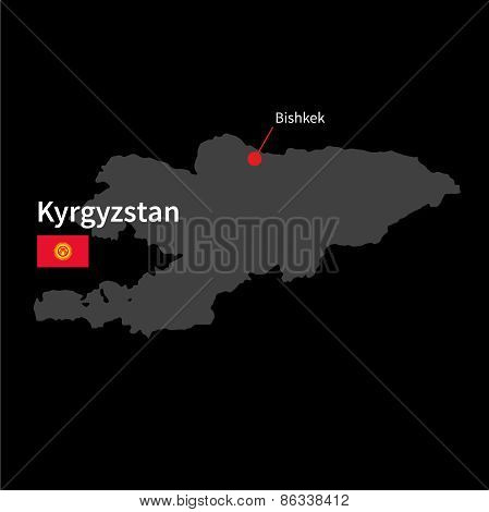 Detailed map of Kyrgyzstan and capital city Bishkek with flag on black background
