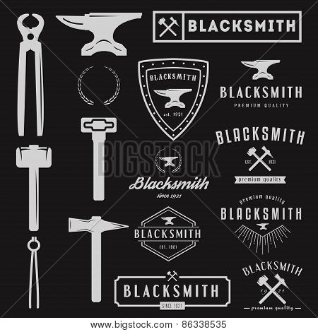 Set of logo for blacksmith, typographic logotype and logo elements