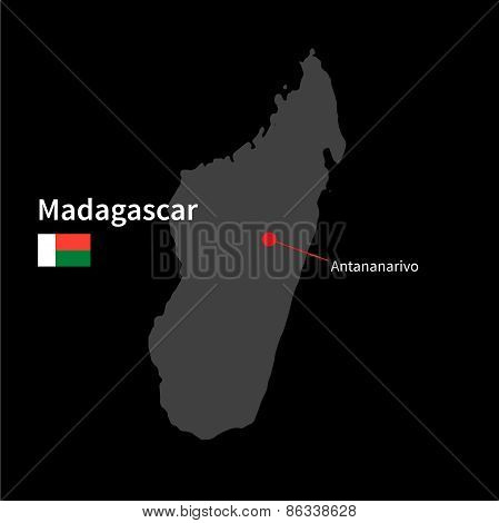 Detailed map of Madagascar and capital city Antananarivo with flag on black background