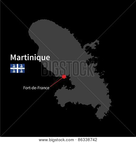 Detailed map of Martinique and capital city Fort-de-France with flag on black background