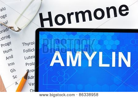 Papers with hormones list and tablet  with word  amylin.