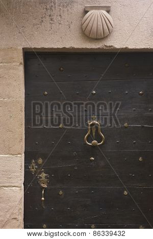 Antique Wooden Door With Santiagos Way Shell Symbol In France