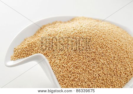 closeup of a white bowl with amaranth seeds on a white surface