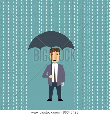 Worried man in rain