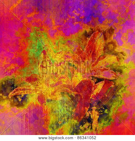 art colorful grunge floral watercolor paper textured background with lily  in fuchsia, coral red, orange, gold, lilac and green colors