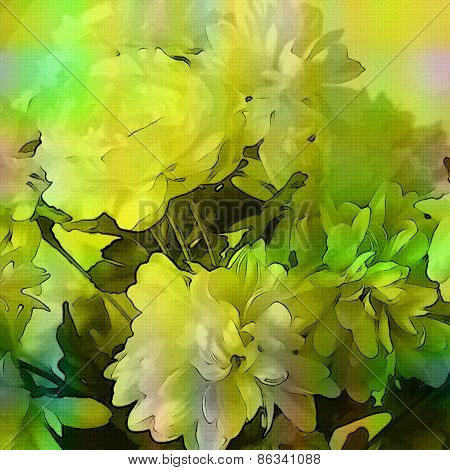 art monochrome grunge floral watercolor paper textured background with white asters  in green, white and black colors