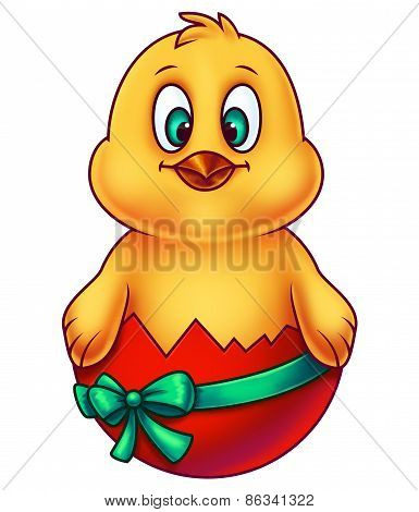 Yellow Easter Chicken in Egg Shell