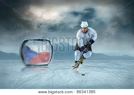 Ice hockey player on the ice. Czech national team.
