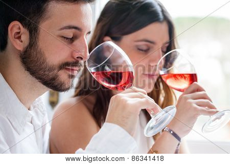 Couple At Wine Tasting.