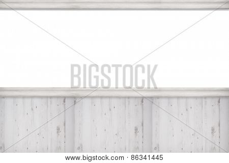 Blank advertising wall with white wooden panels