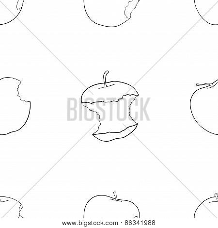 Delightful Garden - Seamless Pattern Of Bitten Apples.