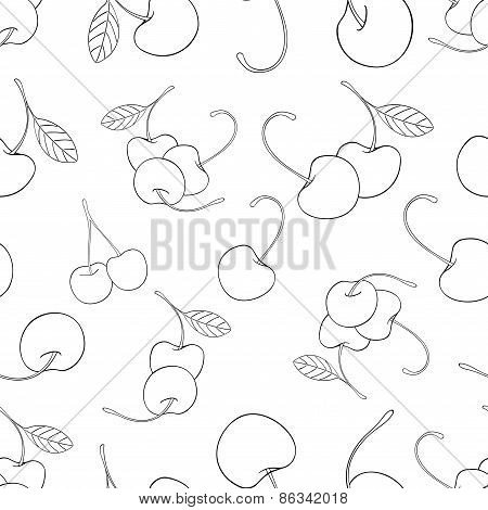 Delightful Garden - Seamless Pattern Of A Lot Of Cherries 1