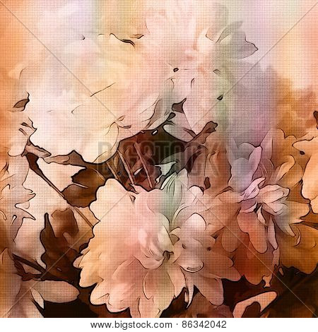 art monochrome grunge floral watercolor paper textured background with white asters  in white, light orange and brown colors