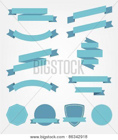 vector set of empty retro ribbons