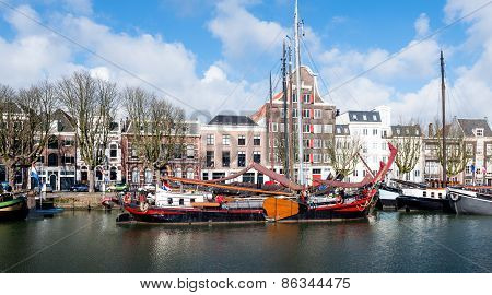 Historic Sailing Cargo Ship Moored In The Dutch City Of Dordrecht