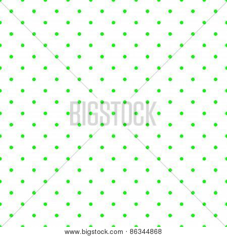 Tile vector pattern with small green polka dots on white background