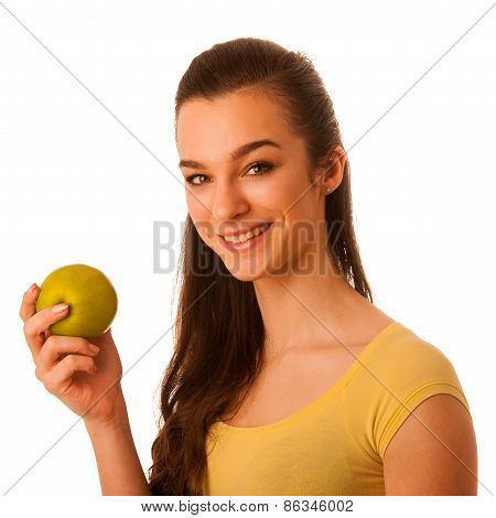 Beautiful Happy Asian Caucasian Woman In Yellow T Shirt Holding Green Apple In Her Hands As A Health