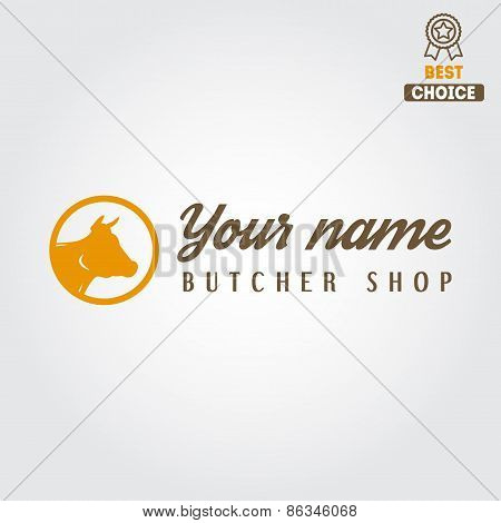 Vintage label, badge, emblem templates and logo of butchery or meat shop