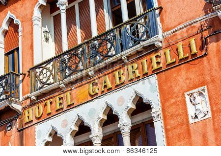 VENICE ITALY - MAR 19 - Facade of a luxury hotel Gabrielli on Mars 19 2015 in Venice Italy.